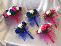 WEDDING FLOWERS ARTIFICIAL IVORY HOT PINK ROYAL BLUE BRIDESMAID ROSE BOUQUETS